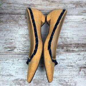J. Crew Shoes - J. Crew Pointed Toe Yellow Tweed Velvet Bow Flats